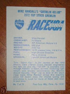Randall Gremlin Card Back on Amc 343 High Performance Engine